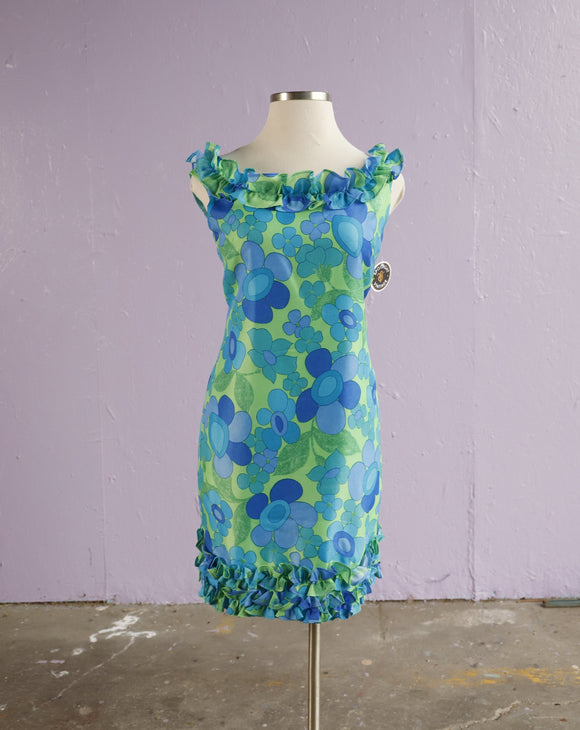 1960's Blue Green Hawaiian Floral Dress with ruffles.