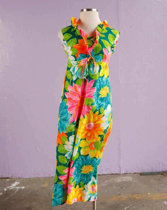1960's Green, Pink & Yellow Hawaiian Psychedelic Floral tiki Maxi Dress