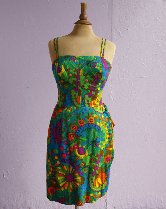 1960's Hawaiian Sport Shop Green tropical floral faux Sarong dress.
