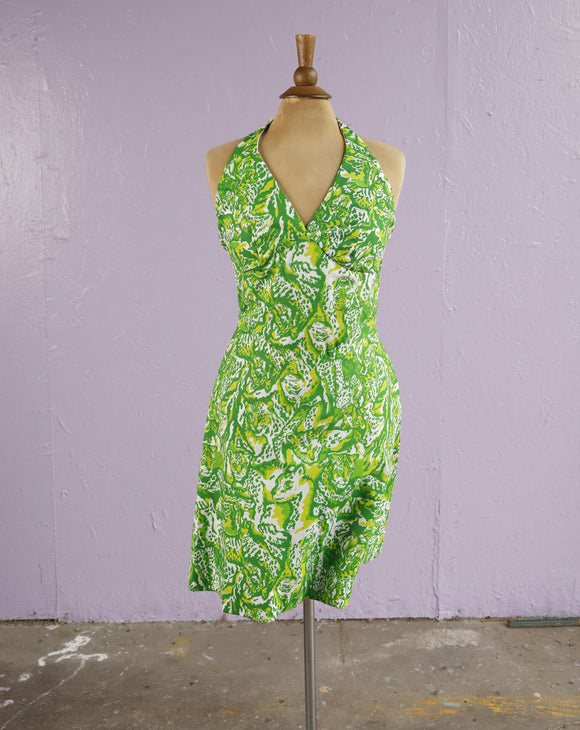 1970's White and Green leopard jungle cat print halter dress with a tie back