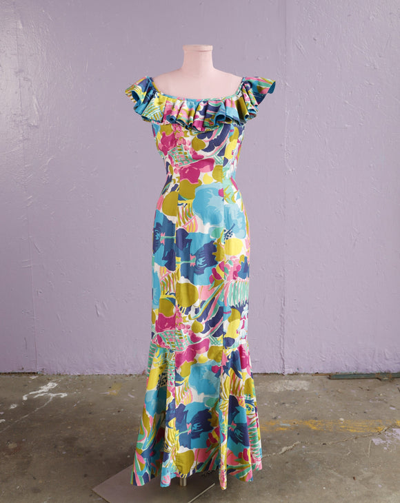 1950's Absolutely beautiful Hawaiian watercolor floral print dress with mermaid skirt.