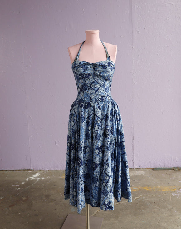 1950's Kahala Blue Hawaiian floral batik print halter dress with smocking