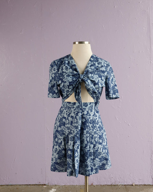 Custom made 50's inspired tropical floral 2 piece set