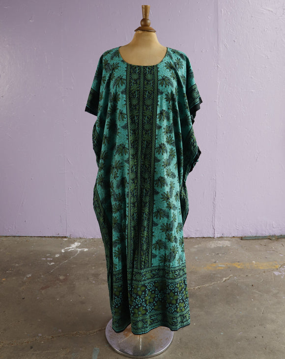 Green batik caftan maxi dress