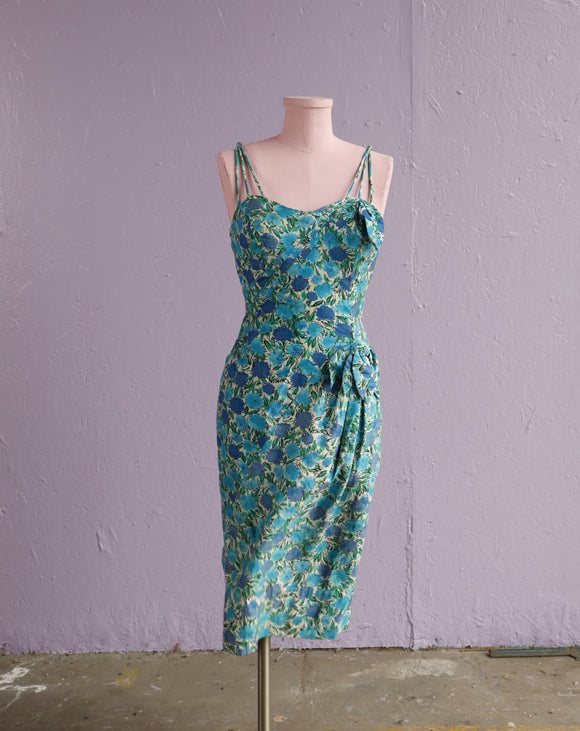 1950's Alix of Miami Blue Chrysanthemum water color floral mock Sarong dress with a sweet heart petal bust & triple strap.