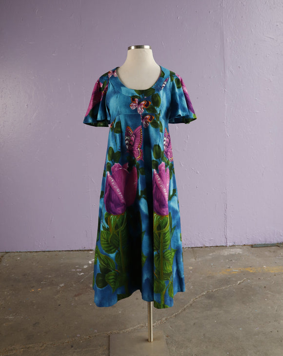 1960's Blue Hawaiian maxi dress with butterfly print