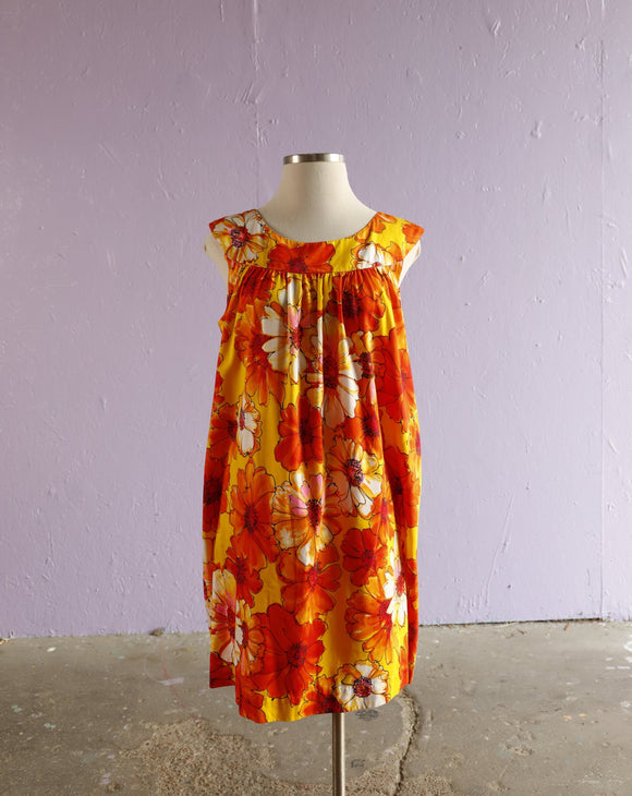 1970's Orange & Yellow Hawaiian floral tent dress