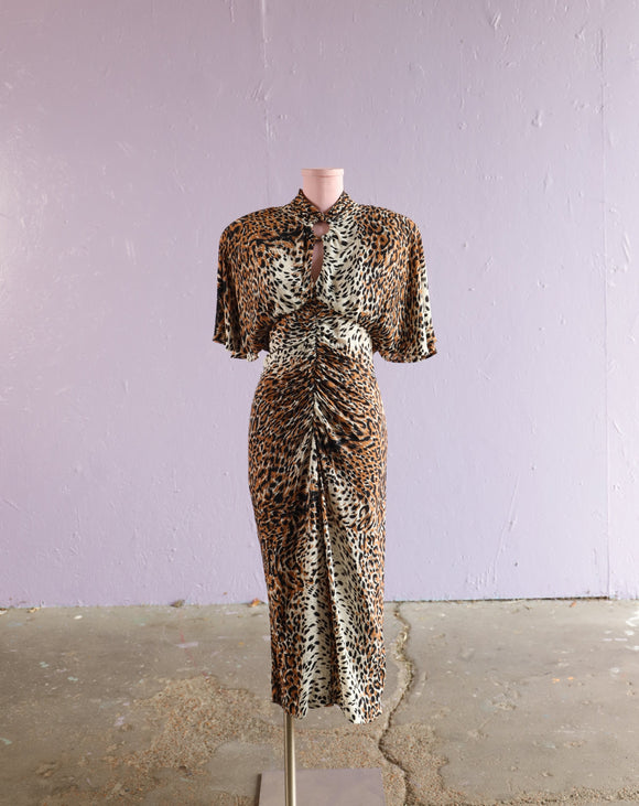 1980's does 40's Leopard wiggle dress