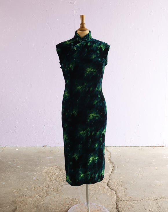 1950's Green & Black Velvet cheongsam dress