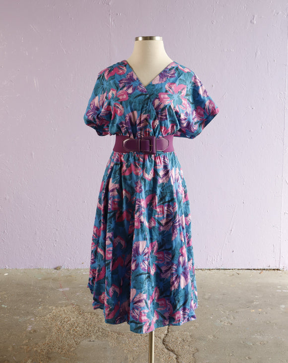 1980's Blue tropical floral plus size dress