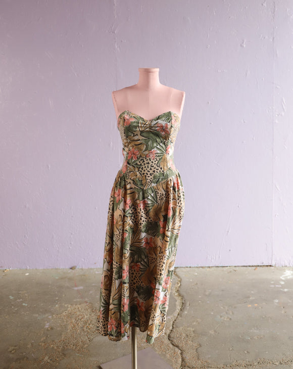 1980's Taupe & Blush pink strapless tropical leopard and lily print dress