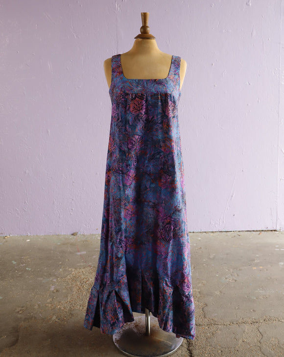 Abstract Floral A-line Ruffle maxi Dress
