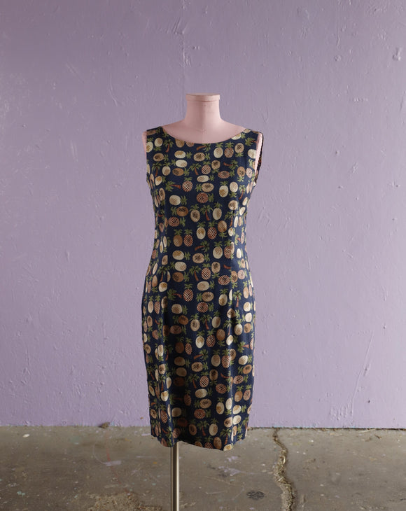 1990's Navy pineapple & palm trees shift dress