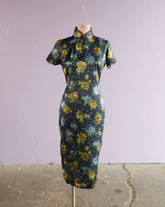 Blue & Yellow floral satin cheongsam dress