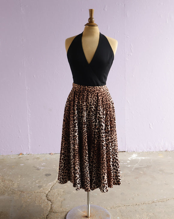 1950's Leopard corduroy circle skirt