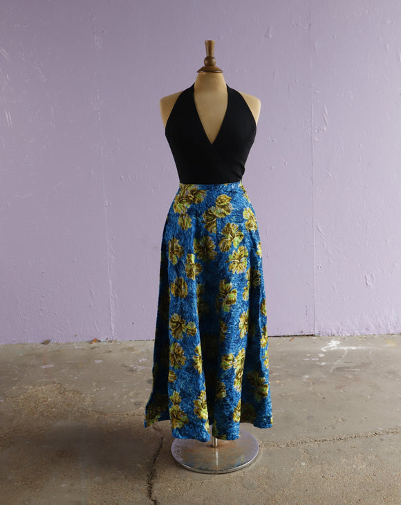 1950's Blue tropical hibiscus watercolor floral on diamond weave maxi skirt.