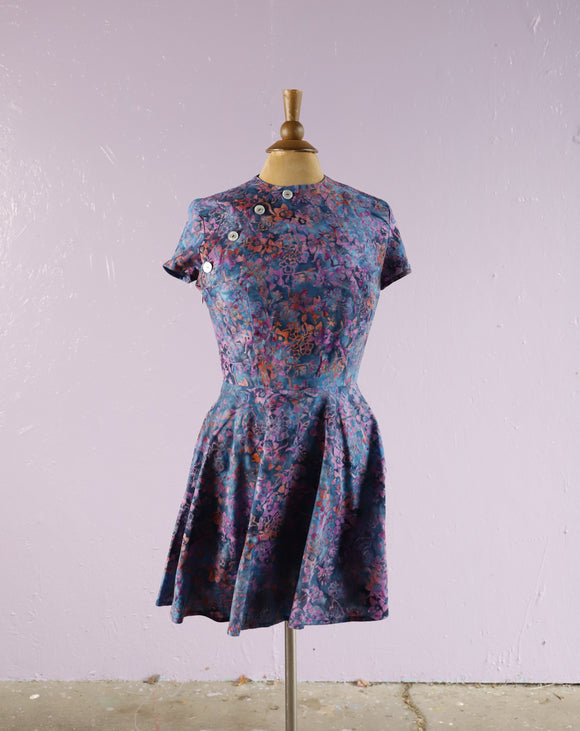 Abstract Blue & Purple Floral Cheongsam mini dress