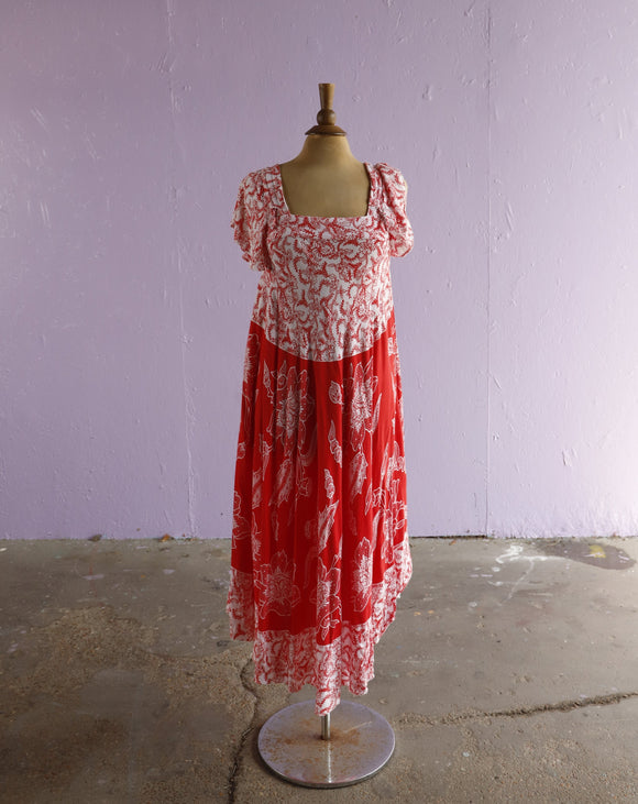 1970-80's White & Red Indonesian trapeze dress