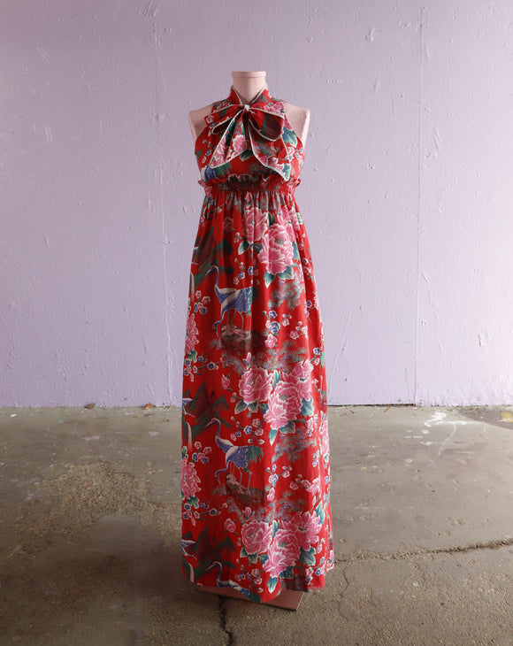 1970's Red empire waist maxi dress with pussy bow & asian florals with cranes
