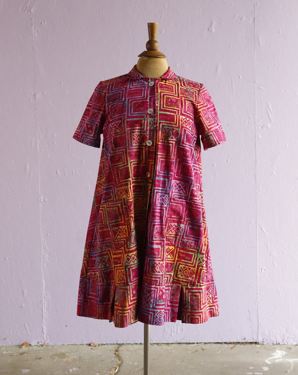 Custom made 1960's inspired trapeze mini dress with a batik over-dyed print