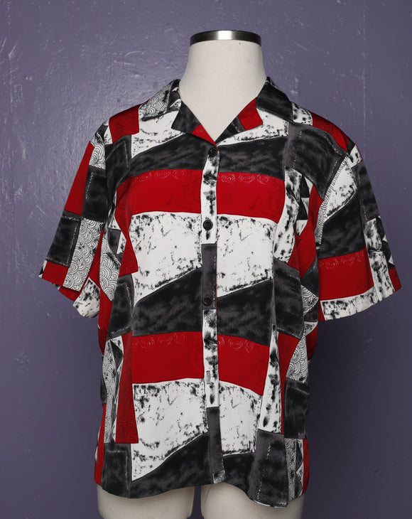 1990's  Red, Black & White abstract plus size shirt