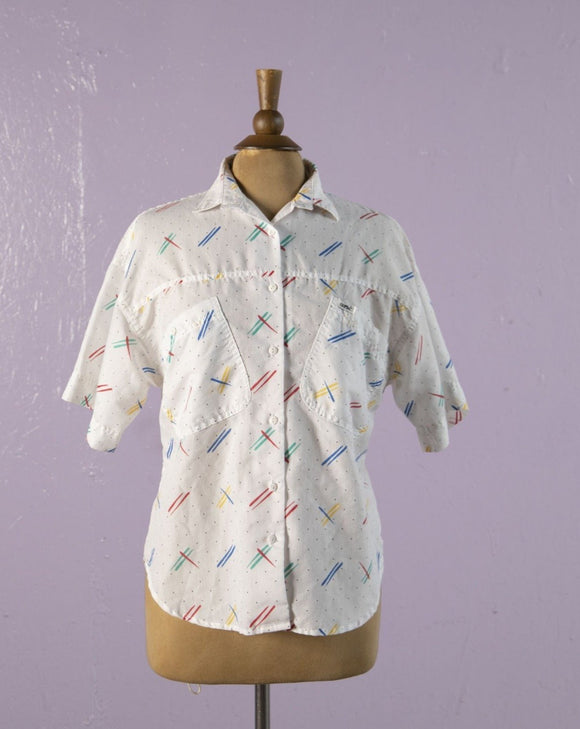 1980's/1990's White button down with  rainbow dashes & polka dots