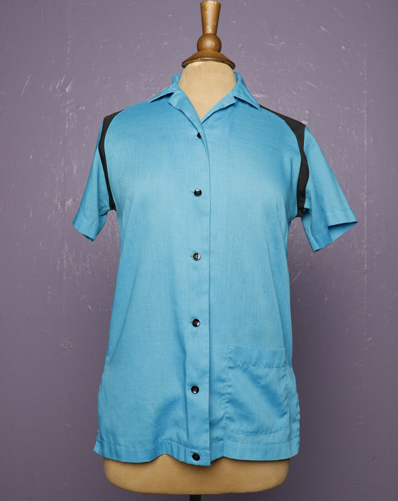 1960's Turquoise & Black bowling shirt