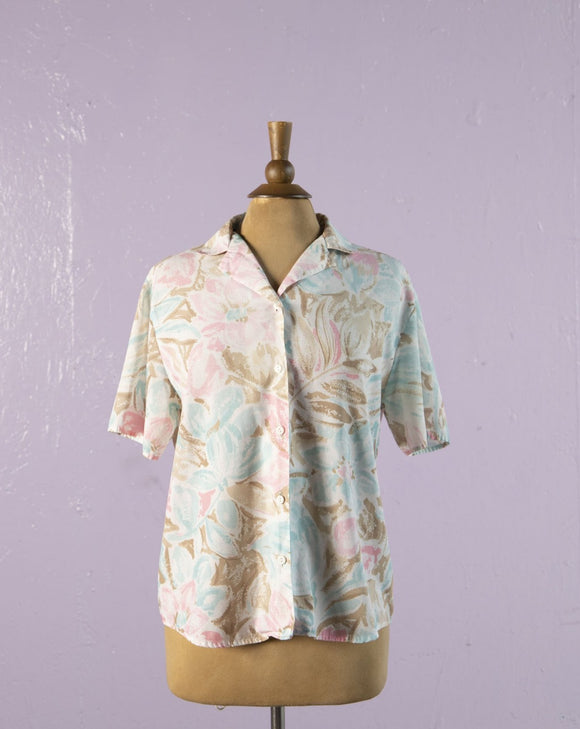 1990's Pastel Pink and baby blue Hawaiian button up shirt