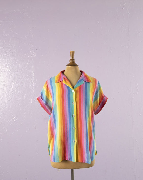 1980's/1990's Rainbow striped button down shirt