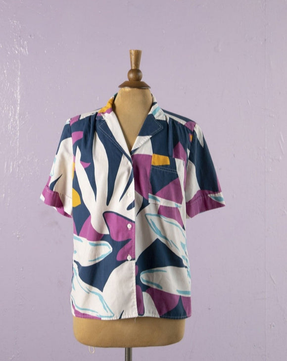 1990's Navy, Purple abstract tropical floral button down shirt