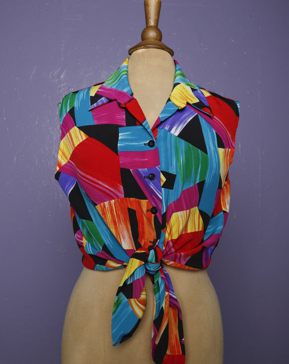 1980's color block sleeveless top