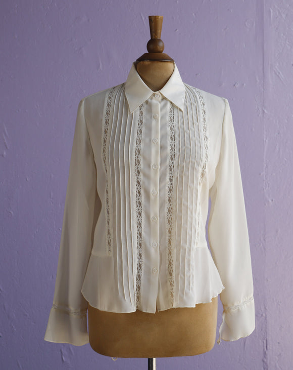 1980's cream laced long sleeve sheer blouse