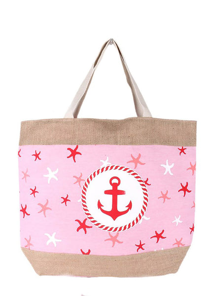 Nautical Anchor Burlap Print Over Sized Beach Tote Bag Red Blue
