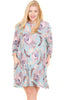 Plus Size Womens Boho Peacock Feather Tunic Swing Dress