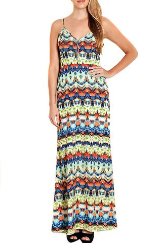 Bright Tribal Print Womens Woven Fashion Maxi Dress w/Open Back