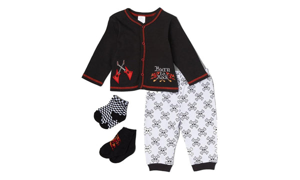 Little Beginnings Black White 'Born to Rock' Cardigan Sock Set Infant 6-9 Months
