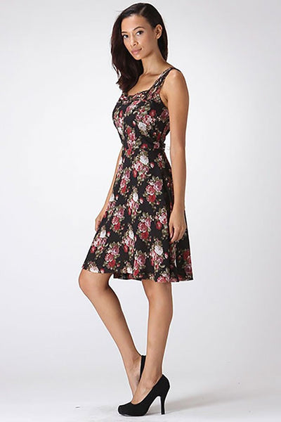 Braided Neckline Floral Rose Womens Elegant Evening Dress