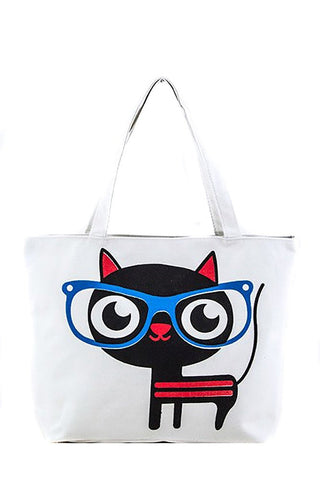 Comic Nerd Cat Over Sized Fashion Canvas Tote Bag Purse