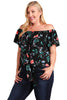 Womens Plus Size Floral Flutter Sleeve Fashion Top Blouse U.S.A