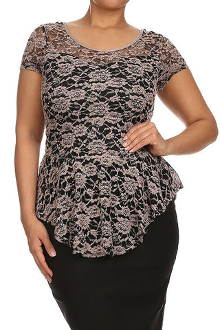 Mocha Floral Lace Fit and Flare short Sleeve Asymmetric Low Back Blouse U.S.A