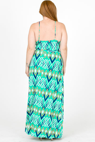 Plus Size Cami Strap Chevron Print Faux Wrap Maxi Dress U.S.A. Mint