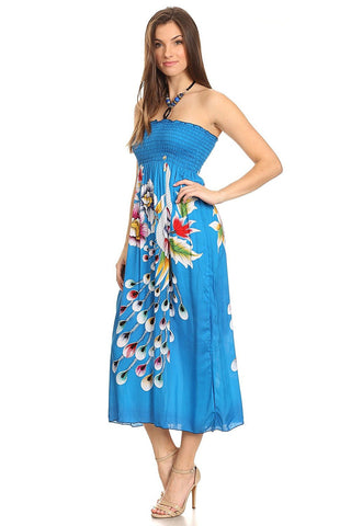Womens Floral Peacock Feathers Smocked Midi Dress