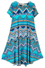 Load image into Gallery viewer, Aqua Teal Chevron Zig-Zag Midi-Length Tunic PLUS Size Dress