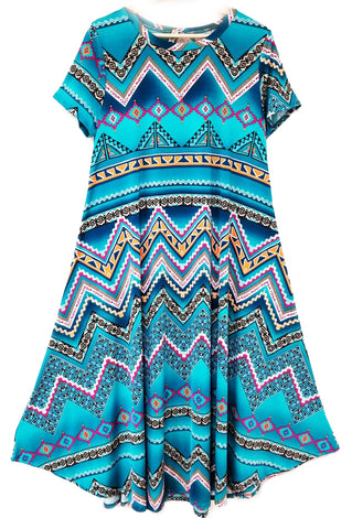 Aqua Teal Chevron Zig-Zag Midi-Length Tunic PLUS Size Dress