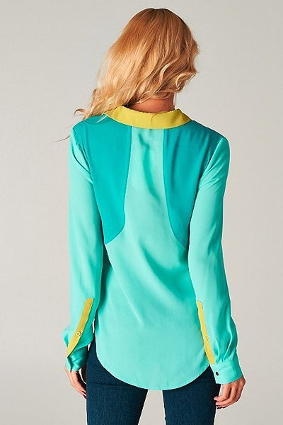 Esley Mint Green Colorblock Long Sleeve Women's Work Wear Blouse