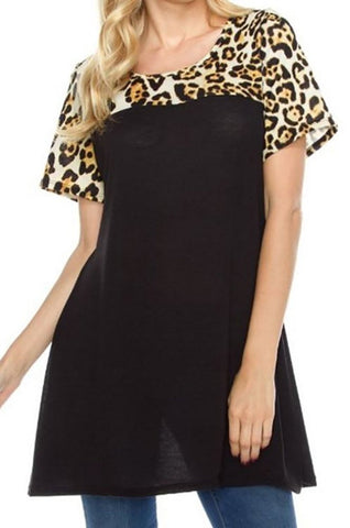 Leopard Color Block Short Sleeve Hatchi Sweater Dress