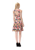 Colorful Floral Heart Cut Out Back Detail Fit & Flare Dress