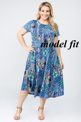 Rust Teal Tribal Midi-Length Tunic Plus Size Dress Women's