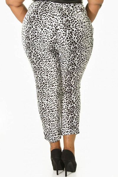 Womens Plus Size Leopard High Waist Casual Pant Bottoms USA