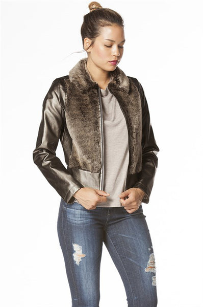 Faux Fur Vegan Leatherette Collared Two Tone Long Sleeve Outerwear Jacket Coat
